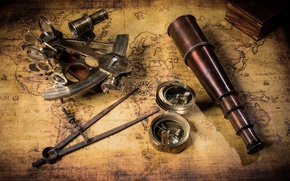 Picture map, pipe, box, treasures, compass, old, telescope, party, sextant