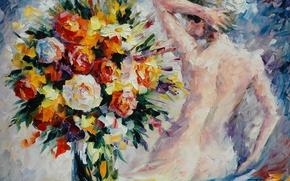 Picture girl, flowers, back, bouquet, hands, vase, painting, Leonid Afremov
