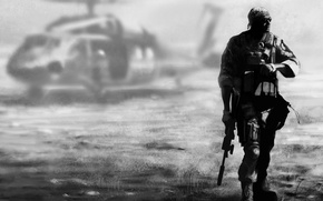 Picture background, soldiers, helicopter, equipment