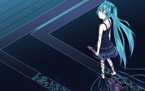 Picture guitar, Art, Vocaloid, Miku hatsune, long hair.