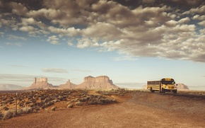 Wallpaper Monument valley, Butt, road, desert, AZ, the fence, United States, school bus, Sandstone, the sky, ...