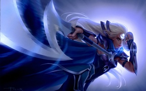 Picture girl, weapons, mask, art, symbol, white hair, League of legends, Diana