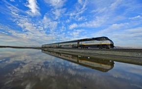Picture the sky, water, reflection, train, CA, USA, Drawbridge