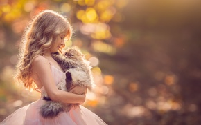 Wallpaper background, dress, girl, kitty, friends