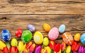 Picture flowers, eggs, spring, Happy, flowers, tulips, tulips, Easter, eggs, Easter, decoration, spring
