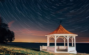 Picture Canada, sky, clouds, stars, tree, rails, long exposure, Niagara-on-the-Lake