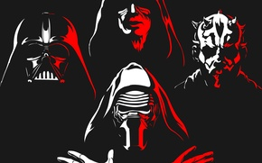 Picture red, white, Star wars, DARTH MAUL, DARTH VADER, KYLO REN
