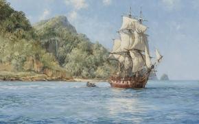 Picture sea, boat, ship, island, sailboat, boat, Montague Dawson
