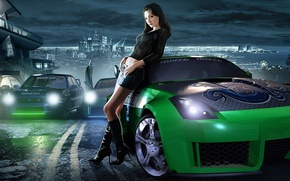 Picture Girl, Girl, Machine, Car, NFS, Game, Need For Speed, Underground 2