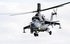 Wallpaper helicopter, flies, combat, Mi-24