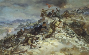 Picture war, smoke, battle, ruins, the great Patriotic war