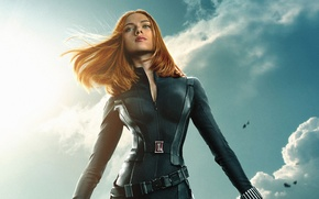 Wallpaper Scarlett Johansson, cinema, sky, clouds, Marvel, movie, Captain America, film, belt, Natasha, 2014, uniform, S. ...
