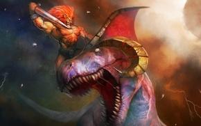 Picture dinosaur, sword, Leo, warrior, horns, battle