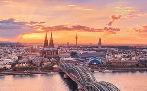 Picture the sky, sunset, bridge, the city, river, Cathedral, Germany, Rhine, Cologne