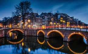 Picture bridge, lights, home, the evening, excerpt, Amsterdam, channel, Netherlands