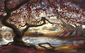 Picture mountains, roots, river, stones, tree, foliage, art, painted landscape