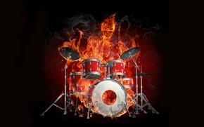 Picture fire, installation, drummer