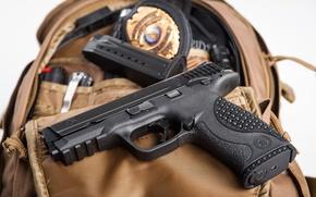 Picture gun, bag, clip, Smith & Wesson, VTAC, M&P