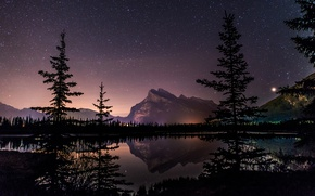 Picture Alberta, Canada, trees, landscape, night, lake, stars, mirror, vegetation, tourism, Vermillion Lake, Canadian Rockies, natural …
