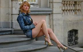 Picture Girl, Legs, Beautiful, Blue, Kira, Russian Model