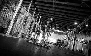Picture black & white, sport, hall, black and white, motivation, training, gym, gym, Training, gym, Simulators
