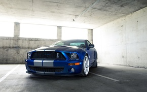 Picture auto, blue, strip, mustang, Mustang, ford, shelby, Ford, Shelby, white stripes, gt500, rechange, avto