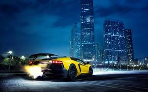 Picture Lamborghini, Fire, Night, Yellow, Aventador, Lamborghini Aventador, Building, Backfire, Supercar