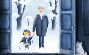 Picture Winter, Snow, Children, New year, Snow, Cats, Children, Whinter