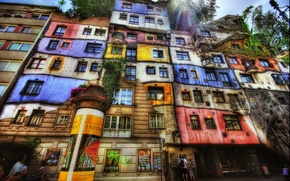 Picture city, street, the building, Windows, HDR, colors, street, building