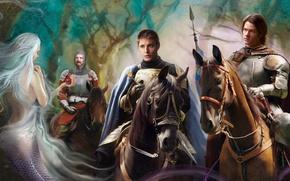 Wallpaper weapons, Sam, knight, Bobby, Ondine, mermaid, armor, Dean, supernatural, horse