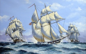 Picture wave, battle, art, artist, Navy, sea, painting, shots, guns, ships, sailboats, John Bentham.