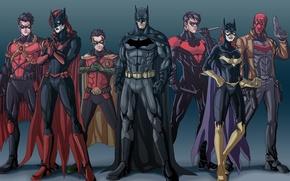 Picture Batman, Bruce Wayne, Batgirl, Red Hood, Tim Drake, Nightwing, Jason Todd, Bat-family