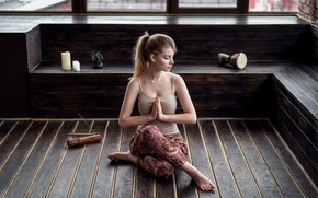 Picture girl, pose, model, portrait, candles, Mike, meditation, Lotus, hairstyle, blonde, yoga, the room, pants, calm, …