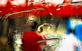Picture glass, water, drops, light, color, texture