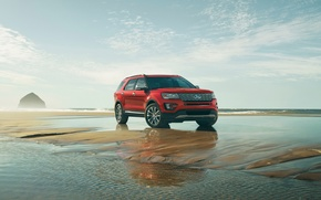 Picture Ford, Red, Explorer, Platinum, (2016)