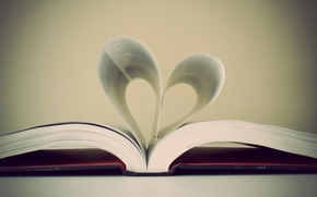 Picture photo, Wallpaper, heart, leaves, book, page