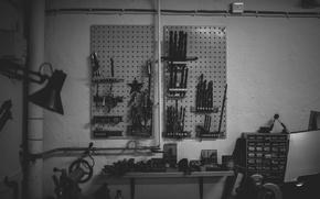 Picture garage, workshop, workbench