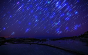 Wallpaper Shooting Stars, starfall, Starfall, sea, sea, darkness, night, night, the sky, sky, stars, darkness