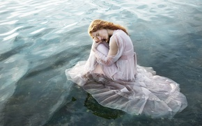 Picture water, girl, mood, the situation, dress