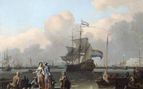 Wallpaper sea, landscape, people, picture, Ludolf Bakhuizen, The frigate De Ploeg in Amsterdam