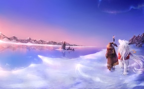 Picture cold, mountains, lake, people, wolf, mask, art, ice, staff, beast