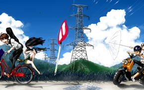 Picture sign, bike, mountains, art, helmet, guys, headphones, anime, birds, glasses, bag, the patch, friends, clouds, ...