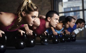 Picture crossfit, class, group, pushups, Russian dumbbell