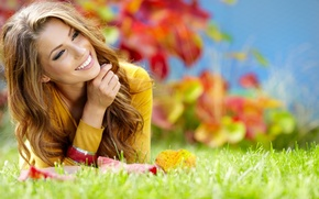Picture greens, autumn, grass, girl, nature, smile, hair, laughter, brown hair, curls
