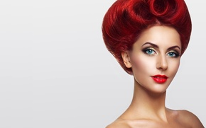 Picture look, girl, eyelashes, background, model, makeup, hairstyle, lips, shoulders, red hair