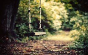 Wallpaper road, swing, loneliness