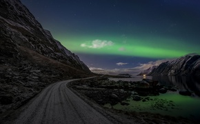 Picture road, the sky, clouds, night, rocks, Northern lights, Norway, The Lofoten Islands