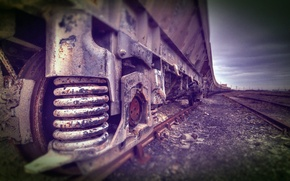 Picture ROAD, MACRO, RAILS, SLEEPERS, TRAIN, WHEEL, IRON, CARS, SPRING