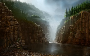 Picture water, nature, fog, stones, rocks, view, art, painting