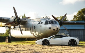 Picture white, profile, white, the plane, ferrari, Ferrari, Italy, 458 italia, plane, black rims